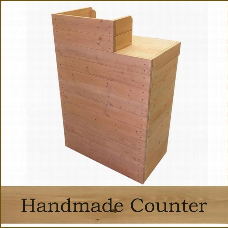 木製レジカウンター・受付カウンター_スリム_幅75cm×奥行45cm×高さ108cm_ライトカーキ+ニス_UN838LK