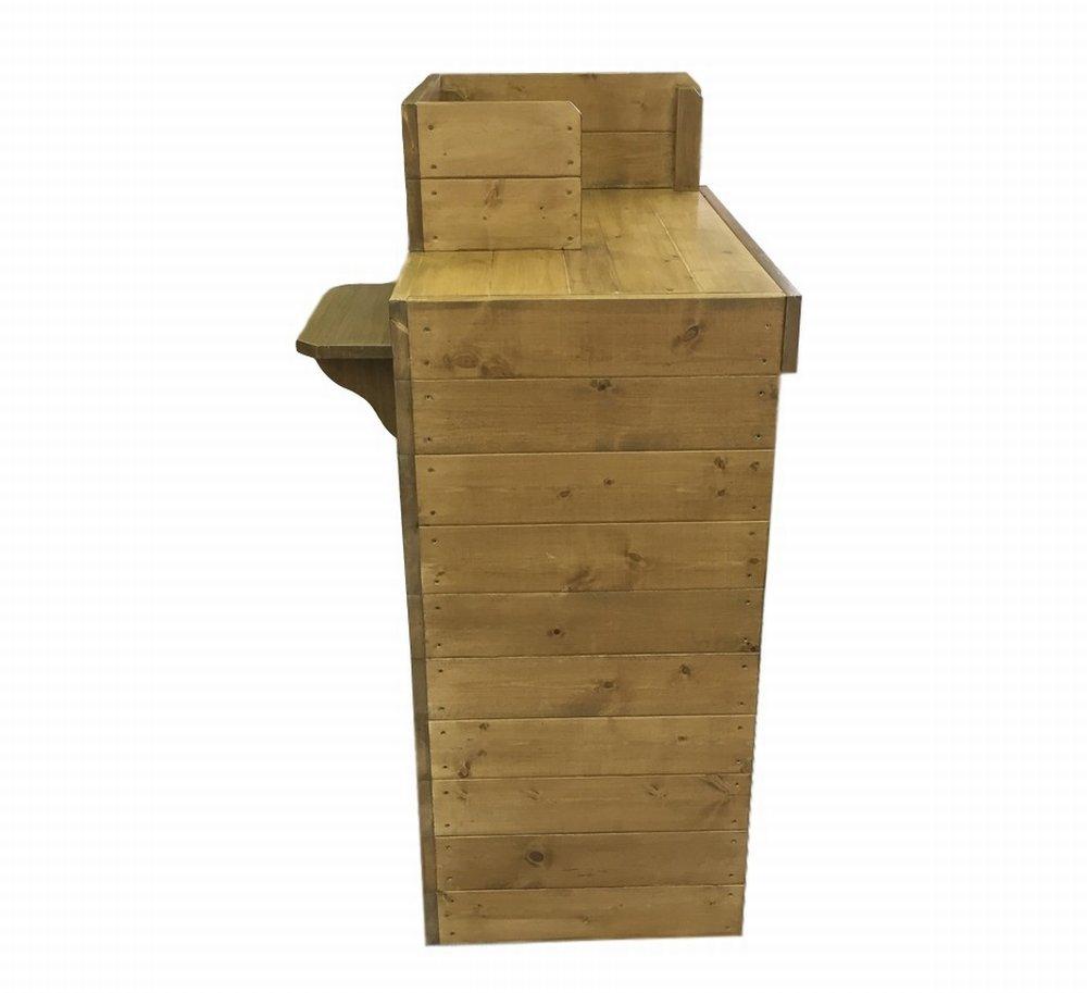 木製レジカウンター・受付カウンター_スリム_バック置付_幅75cm×奥行60cm×高さ108cm_オーク+ニス_UN839OK