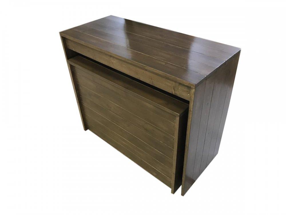 木製ディスプレイテーブル_2個セット_幅100cm×奥行45cm×高さ80cm_オールナット(ニス仕上げ)_UN811WN