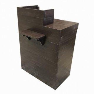 木製レジカウンター・受付カウンター_スリム_バック置付_幅75cm×奥行60cm×高さ108cm_アンティークブラウン+ニス_UN839AB