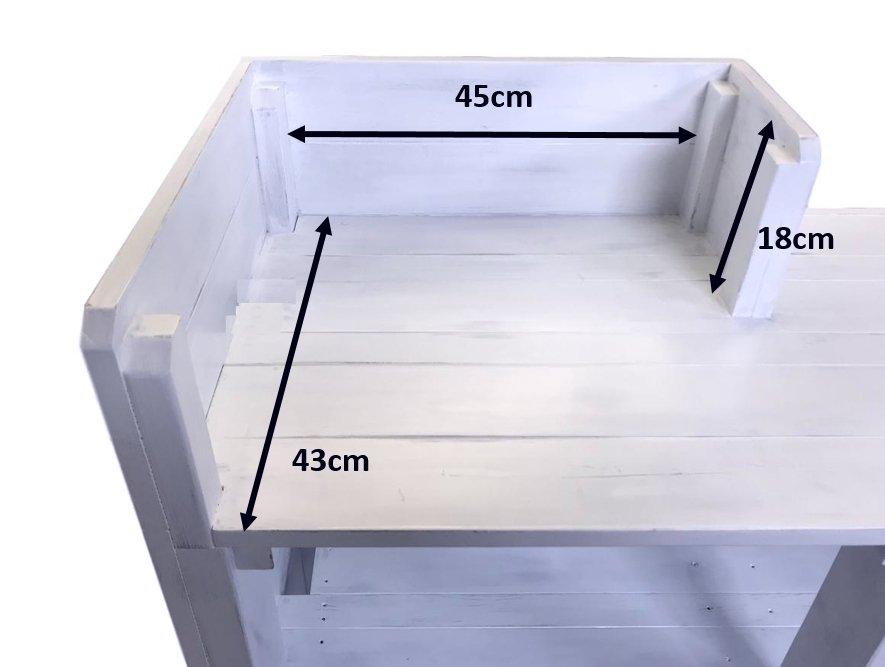木製レジカウンター・受付カウンター_バッグ置付_幅120cm×奥行60cm×高さ108cm_アンティークホワイト(ニス仕上げ)_CT3AWH