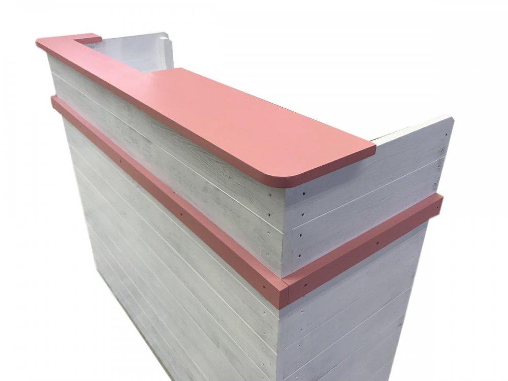 木製レジカウンター・受付カウンター_上部天板付き_幅124cm×奥行48cm×高さ99cm_ピンク_C005PAWH
