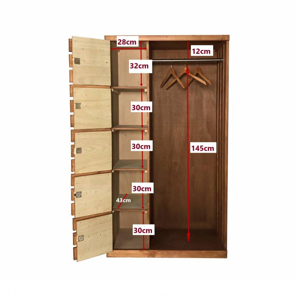 <img class='new_mark_img1' src='https://img.shop-pro.jp/img/new/icons14.gif' style='border:none;display:inline;margin:0px;padding:0px;width:auto;' />ロッカー付き木製ワードローブ_幅95cm × 奥行 46cm × 高さ 172cm_アースオーク_B005EOK