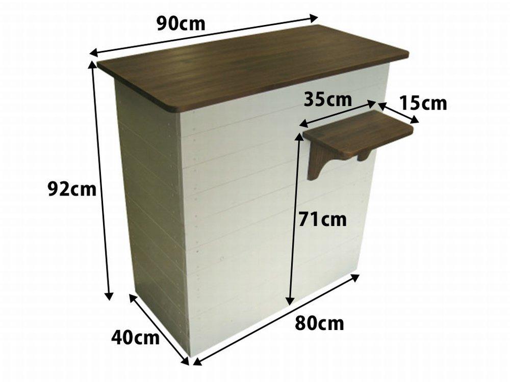 木製レジカウンター・受付カウンター_バッグ置付_幅90cm×奥行55cm×高さ92cm_ミルキーホワイト+ニス仕上げ_UN829MW