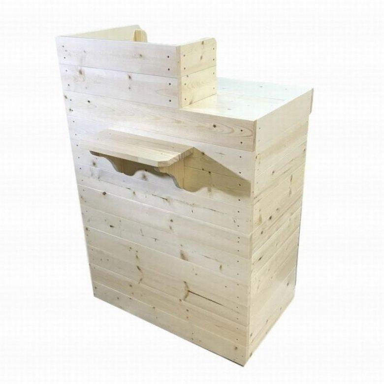 木製レジカウンター・受付カウンター_スリム_バック置付_幅75cm×奥行60cm×高さ108cm_無塗装_UN839N