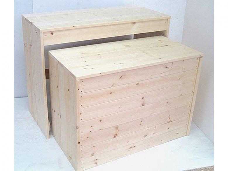 木製ディスプレイテーブル_2個セット_幅100cm×奥行45cm×高さ80cm_無塗装_UN811N