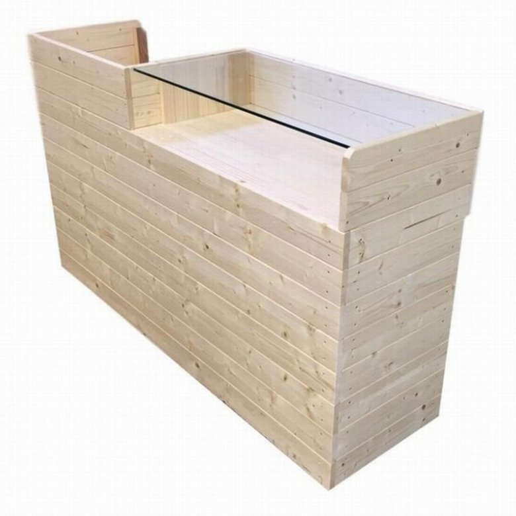 木製ショーケース_レジカウンター_レジ台__幅150cm×奥行45cm×高さ90cm_無塗装_UN806N