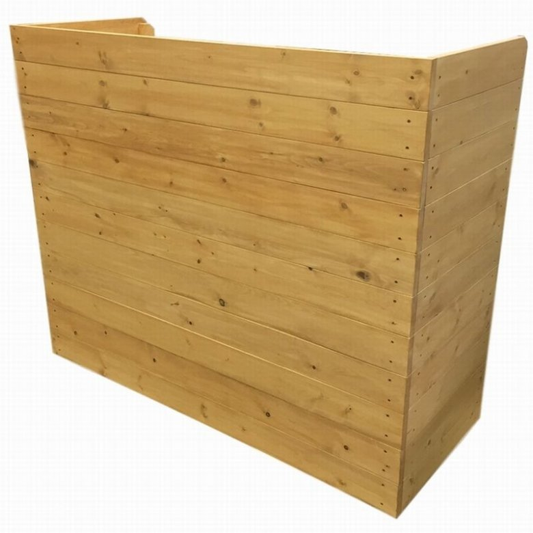 木製レジカウンター・受付カウンター_幅120cm×奥行49cm×高さ100cm_ライトカーキ_UN832LK
