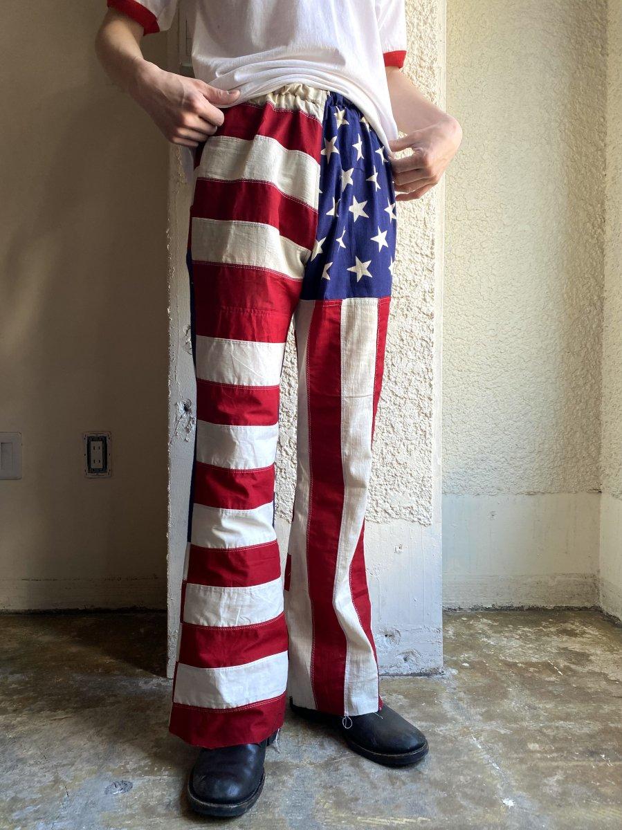 vintage flag flared pants