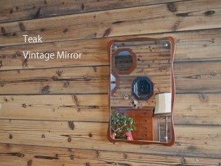 なみなみのフレームが可愛い<br>チーク ヴィンテージミラー<br>teak vintage mirror 鏡