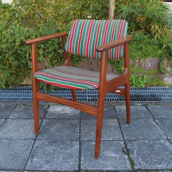 【SOLD OUT】肉厚のチークのフレーム×個性的なファブリック Teak Arm Chair