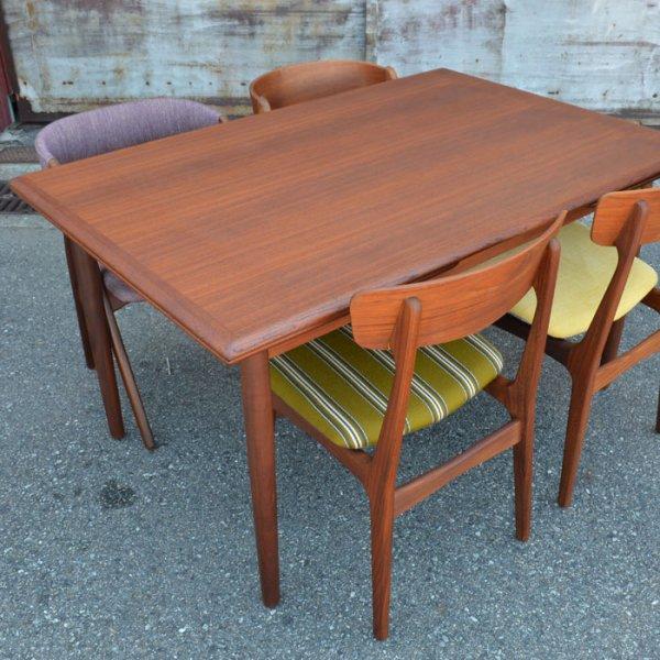 すっきりと分厚い無垢回しが素敵な135cmワイドのテーブル。 Teak Rectangle Dining Table