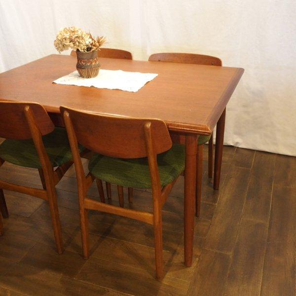 なめらかな天板の木口が素敵な1枚 Teak Rectangle Dining Table
