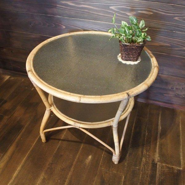 チークの家具とも意外と相性のいいバンブー×ガラスのテーブル Rattan Bamboo Round Coffee Table