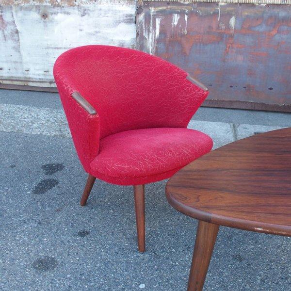 【Special Price!】丸いフォルムに肘先のチークがワンポイント Teak Easy Chair