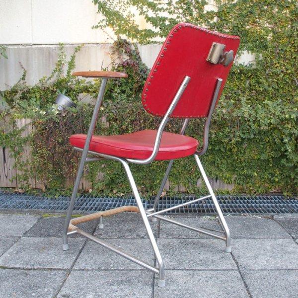 ビンテージバーバーチェア!パイプ×チーク無垢×レッド合皮◎ Vintage Barber Chair