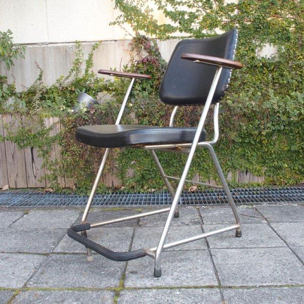 ビンテージバーバーチェア!パイプ×チーク無垢×ブラック合皮◎ Vintage Barber Chair