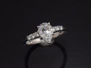 PT900 1.024ct天然ペアシェイプダイヤモンドデザインリング