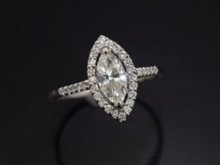 PT900 0.571ct天然マーキスカットダイヤモンドデザインリング