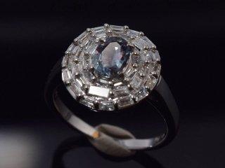 PT900 0.47ct 天然アレキサンドライト・ダイヤモンドリング