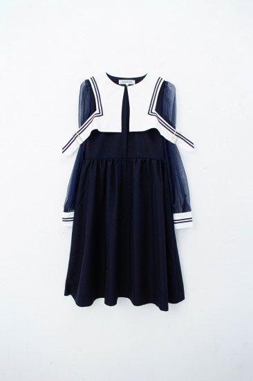 FUTATSUKUKURI/ セーラー縛りワンピース/navy