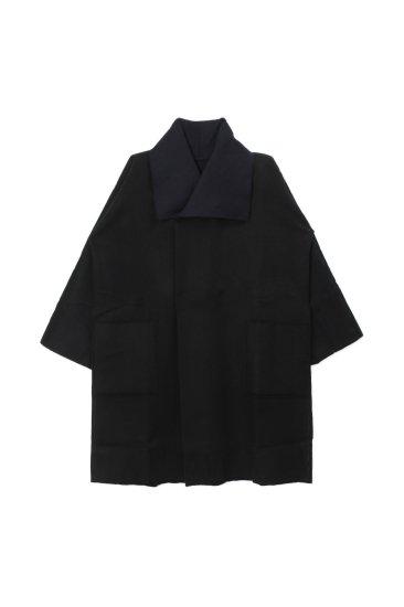MITTAN /ウールリバーコート / 紺×黒