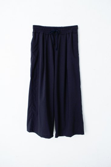 YANTOR / Torowool  straight wide slacks/ navy