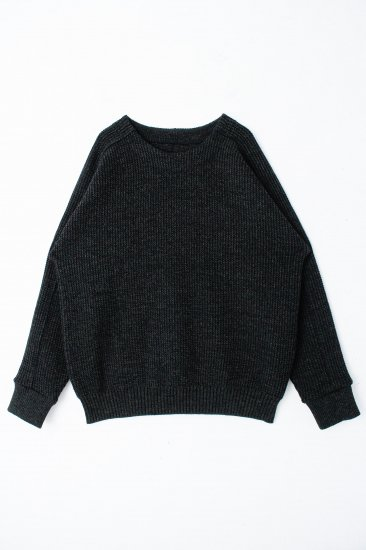 YANTOR / Plating Wool Cotton Wide Sweater / deep frest