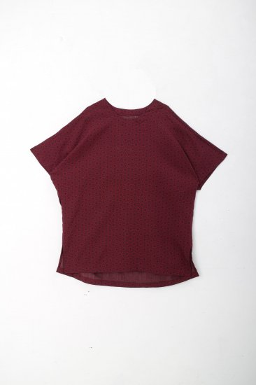YANTOR / Geometric Wide Pullover / wine red