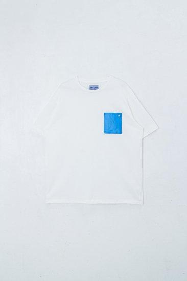 beta post /  Blue Sheet Pocket T-Shirts tee /white