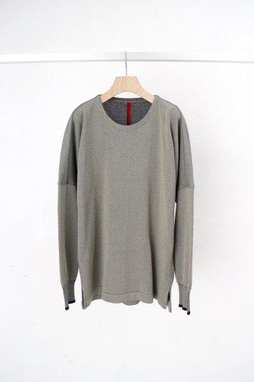 YANTOR / Plating knit dolman pullover /greenish-gray
