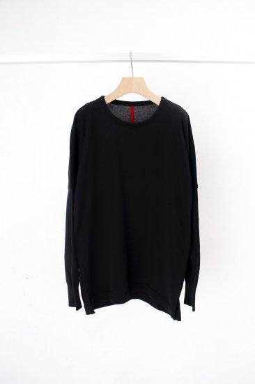 YANTOR / Plating knit dolman pullover /black