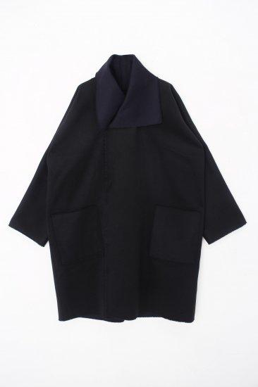 MITTAN /ウールリバーコート / 黒×紺