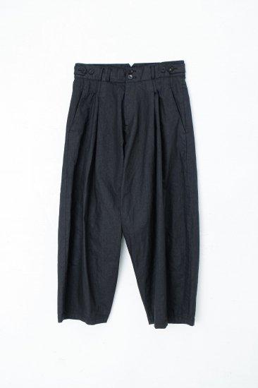 YANTOR / sumi-coating indigo denim 2tuck wide pants
