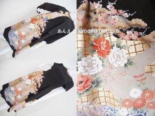 黒留袖から ワンピース & ボレロジャケット 牡丹 梅 菊 7号〜9号 S〜M