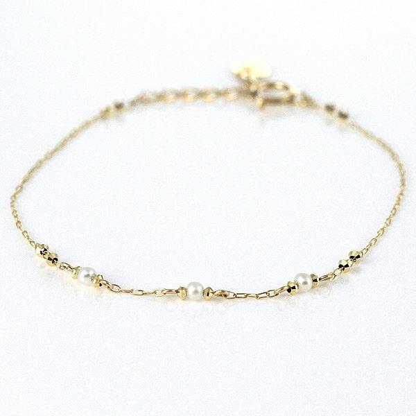 真珠 パール 淡水パール イエローゴールド ブレスレット ゴールド レディース シンプル おすすめ 人気 送料無料