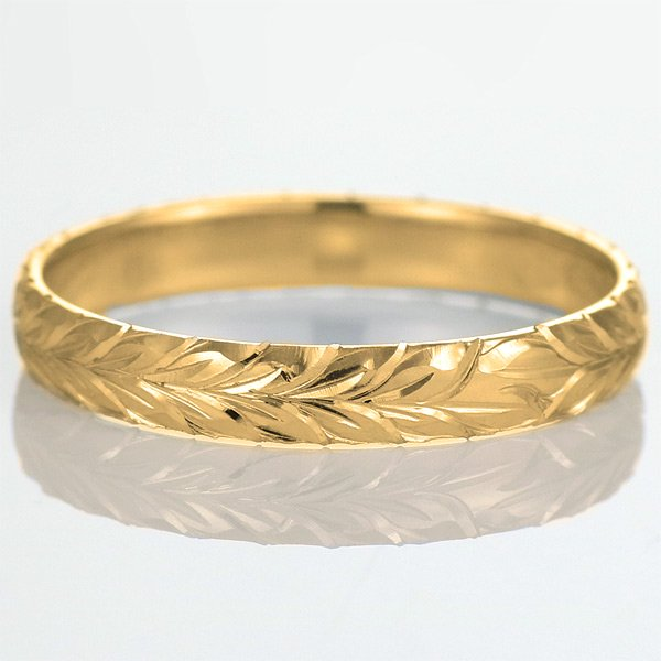 ハワイアンジュエリー 結婚指輪 人気 ゴールド 18金 幅約5mm 指輪 ファッション デザイン マイレ ブランド