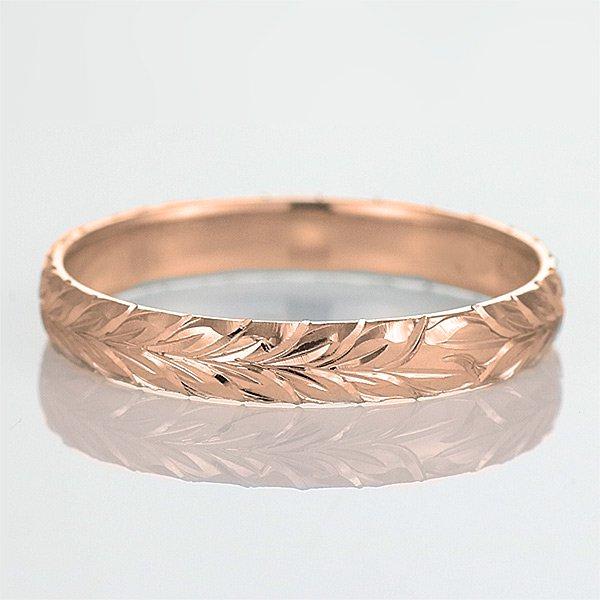 ハワイアンジュエリー 結婚指輪 人気 ピンクゴールド 18金 幅約4mm 指輪 ファッション デザイン マイレ ブランド