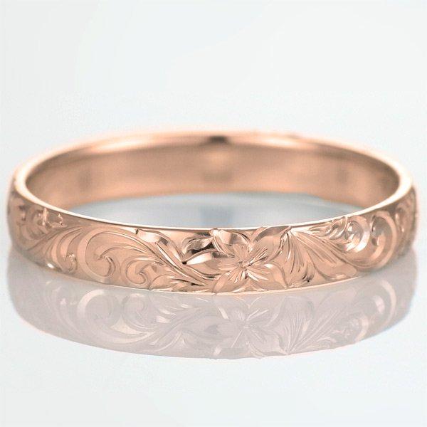 ハワイアンジュエリー 結婚指輪 人気 ピンクゴールド 18金 幅約5mm 指輪 ファッション デザイン スクロール ブランド