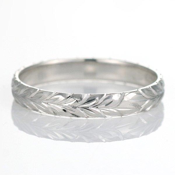 ハワイアンジュエリー 結婚指輪 人気 ホワイトゴールド 18金 幅約3mm 指輪 ファッション デザイン マイレ ブランド