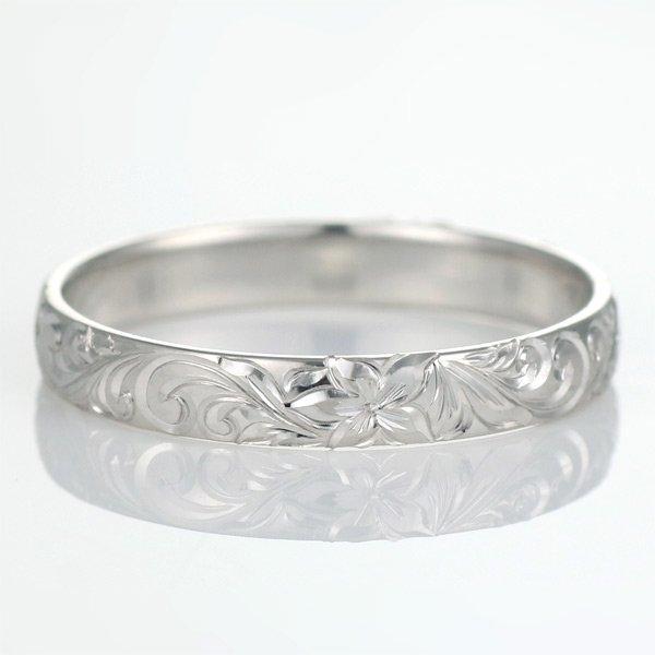 ハワイアンジュエリー 結婚指輪 人気 ホワイトゴールド 18金 幅約3mm 指輪 ファッション デザイン スクロール ブランド