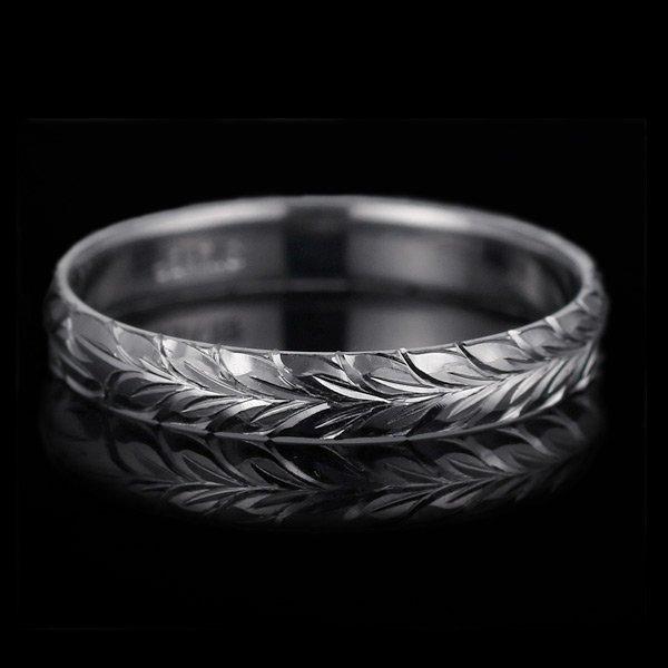 ハワイアンジュエリー 結婚指輪 人気 ホワイトゴールド 18金 幅約4mm 指輪 ファッション デザイン マイレ ブランド