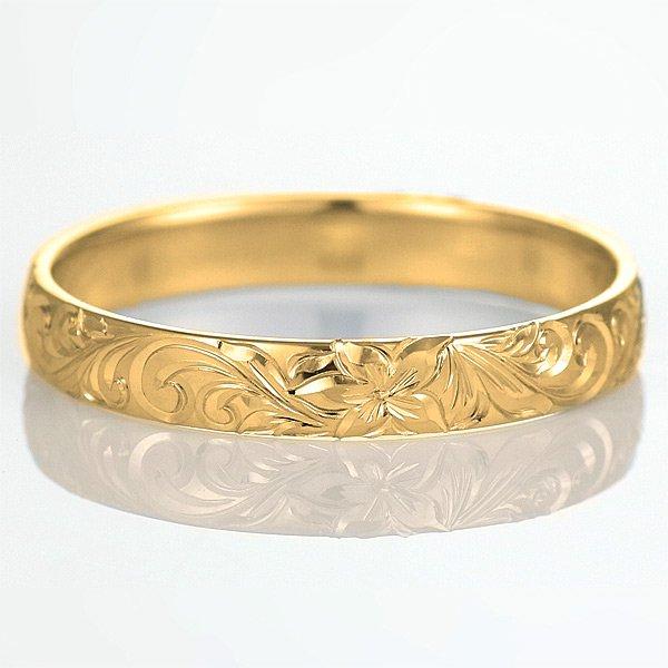 ハワイアンジュエリー 結婚指輪 人気 ゴールド 18金 幅約3mm 指輪 ファッション デザイン スクロール ブランド
