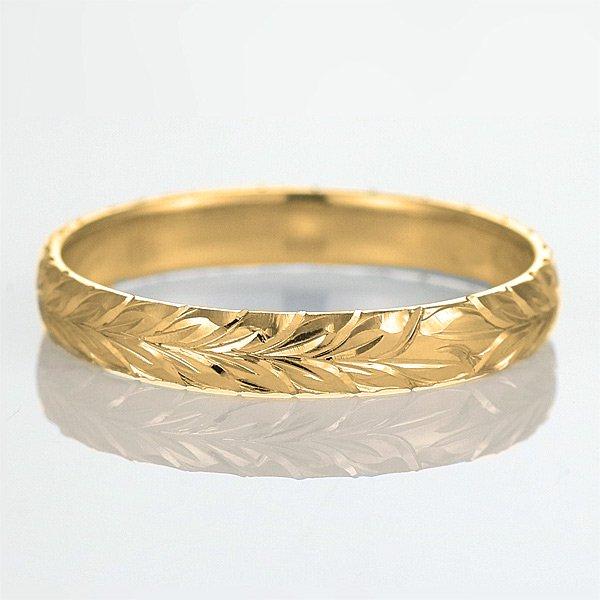 ハワイアンジュエリー 結婚指輪 人気 ゴールド 18金 幅約4mm 指輪 ファッション デザイン マイレ ブランド