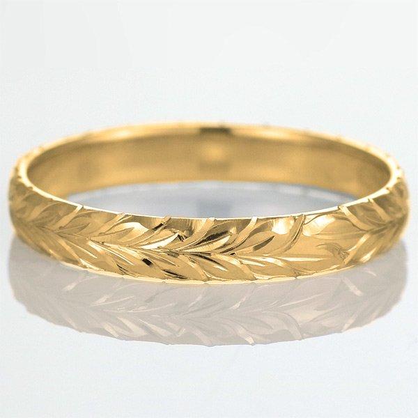 ハワイアンジュエリー 結婚指輪 人気 ゴールド 18金 幅約6mm 指輪 ファッション デザイン マイレ ブランド