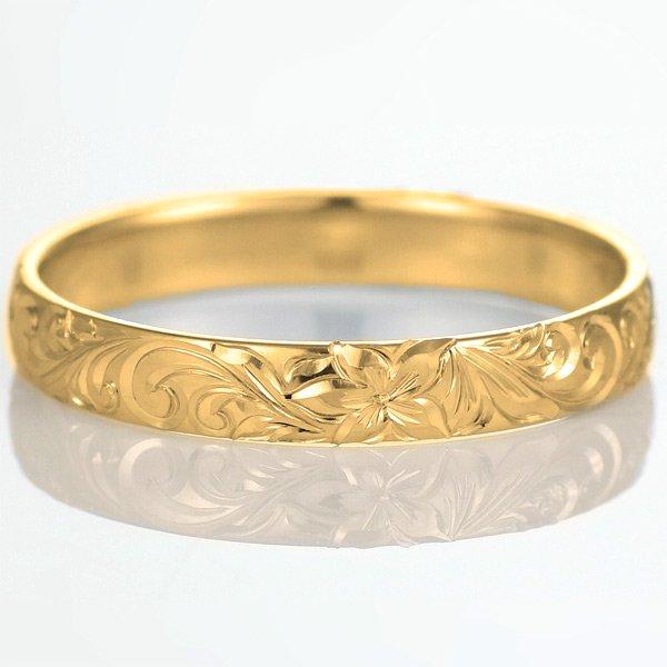 ハワイアンジュエリー 結婚指輪 人気 ゴールド 18金 幅約6mm 指輪 ファッション デザイン スクロール ブランド
