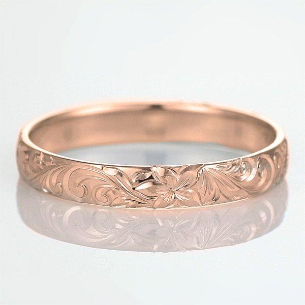 ハワイアンジュエリー 結婚指輪 人気 ピンクゴールド 18金 幅約3mm 指輪 ファッション デザイン スクロール ブランド