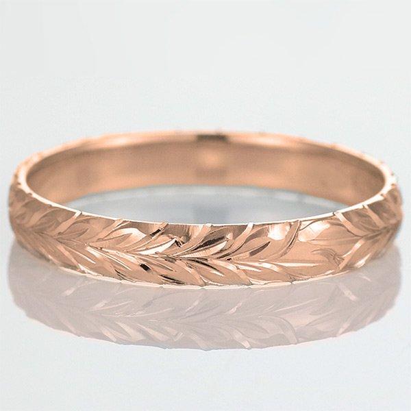 ハワイアンジュエリー 結婚指輪 人気 ピンクゴールド 18金 幅約6mm 指輪 ファッション デザイン マイレ ブランド