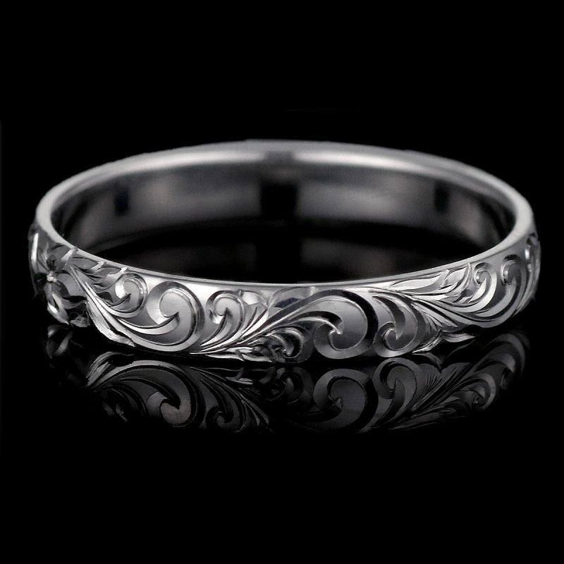 ハワイアンジュエリー 結婚指輪 人気 ホワイトゴールド 18金 幅約4mm 指輪 ファッション デザイン スクロール ブランド