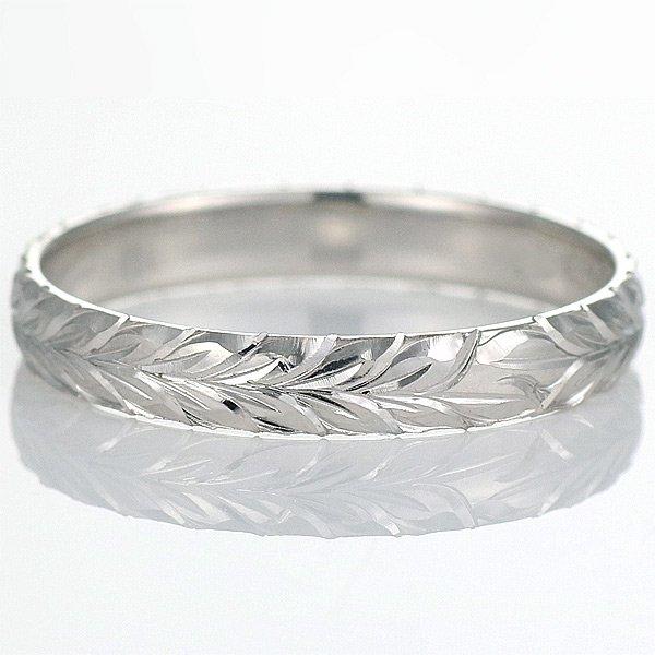 ハワイアンジュエリー 結婚指輪 人気 ホワイトゴールド 18金 幅約5mm 指輪 ファッション デザイン マイレ ブランド